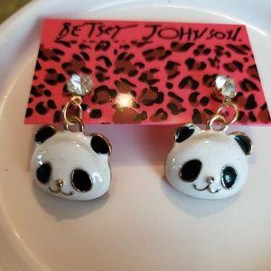 New Small Betsey Johnson Panda Earrings